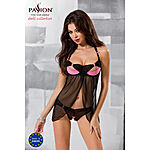 Passion - Praline Chemise & open crotch panties