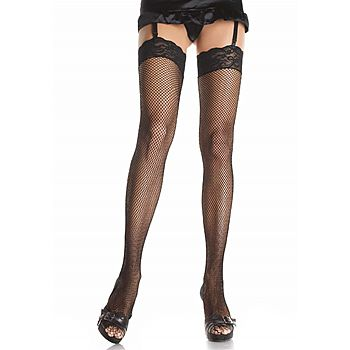Leg Avenue - Fishnet stockings highs with lace top