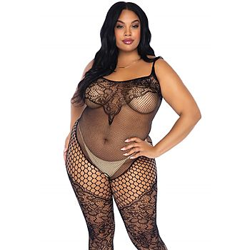 Vine lace and net tank bodystocking