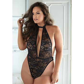 Allure - Brooke lace & mesh halter teddy, black