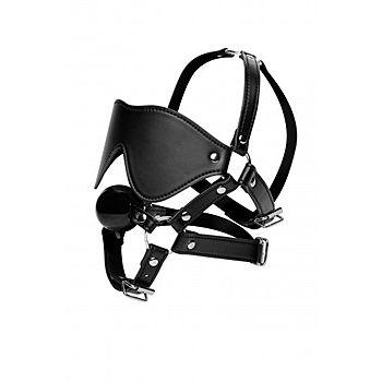 STRICT - Blindfold harness + Ball gag