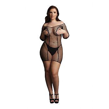 Le Desir - Short-sleeved fishnet mini dress, Plus Size