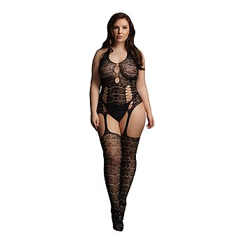 Le Desir - Opaque lace suspender bodystocking, Plus Size