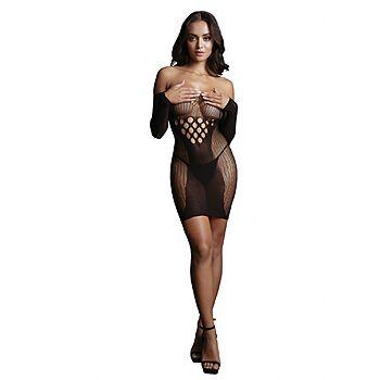 Le Desir - Long-sleeved net mini dress