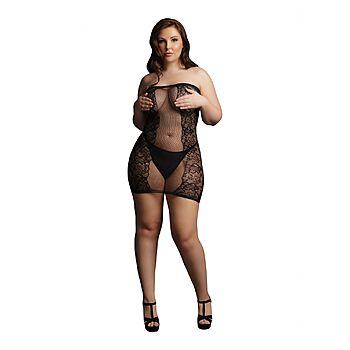 Le Desir - Strapless fishnet and lace mini dress, Plus Size