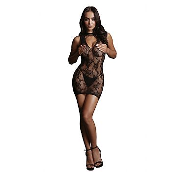 Le Desir - Mini dress high open neck-line