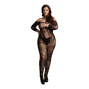 Le Desir - Lace sleeved bodystocking, Plus Size